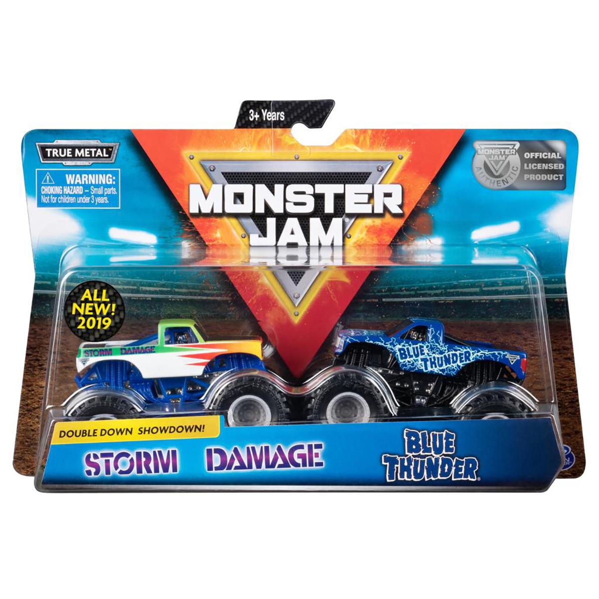 Set 2 masini Monster Jam, Scara 1:64, Blue Thunder si Storm Damage