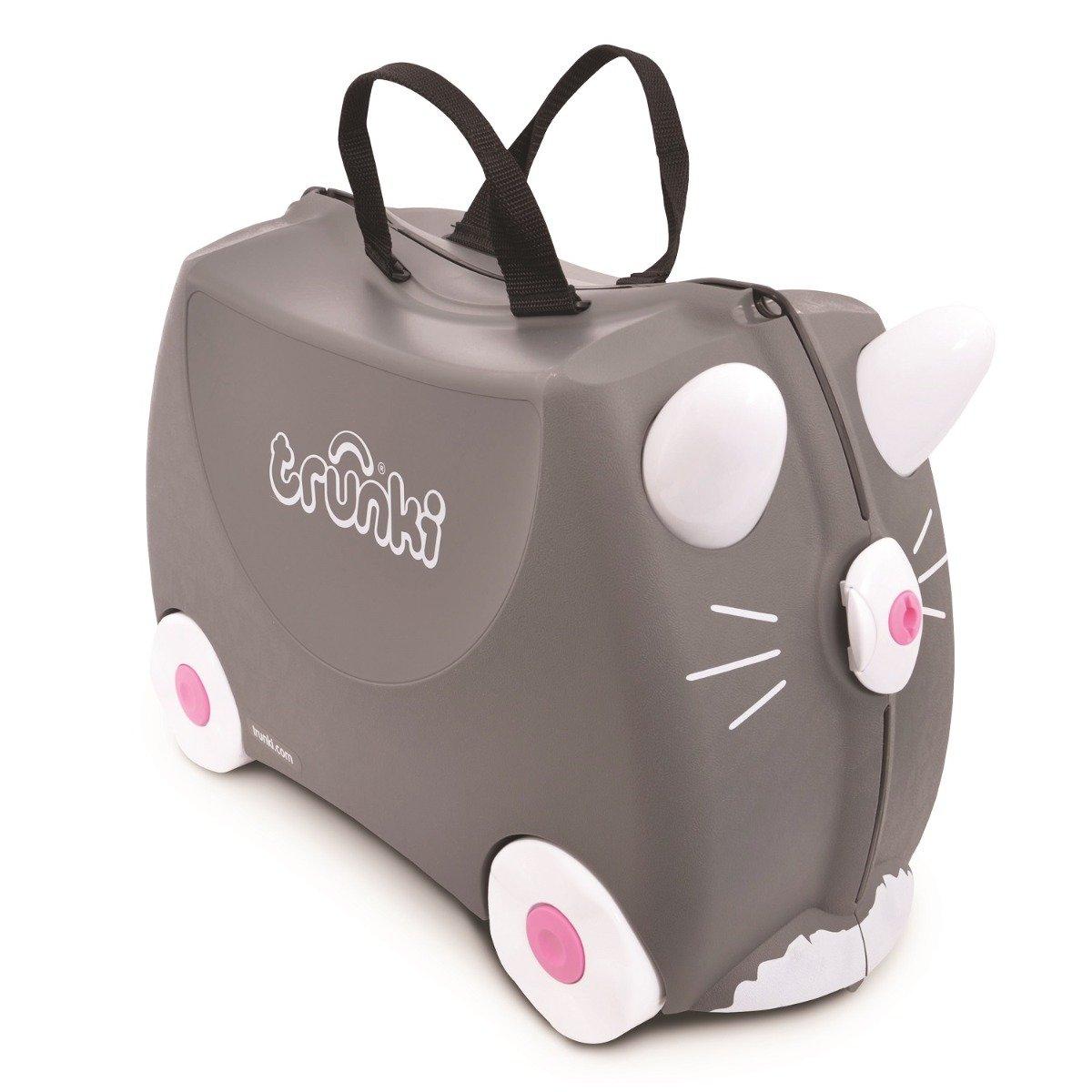 Valiza pentru copii Ride-On Benny Pisica Trunki, Gri, 46 cm imagine
