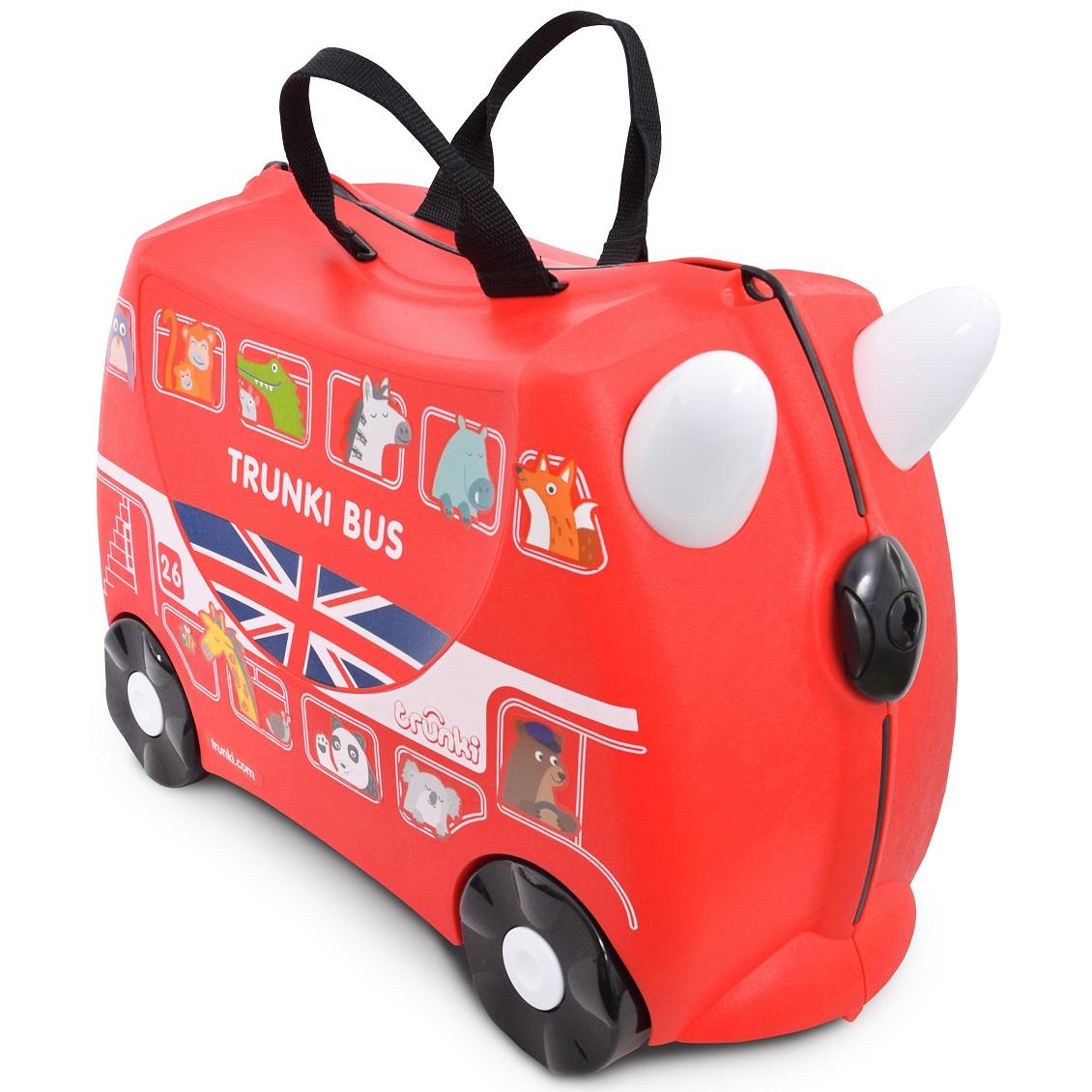 Valiza pentru copii Ride-On Autobuz Boris Trunki, Rosu, 46 cm imagine