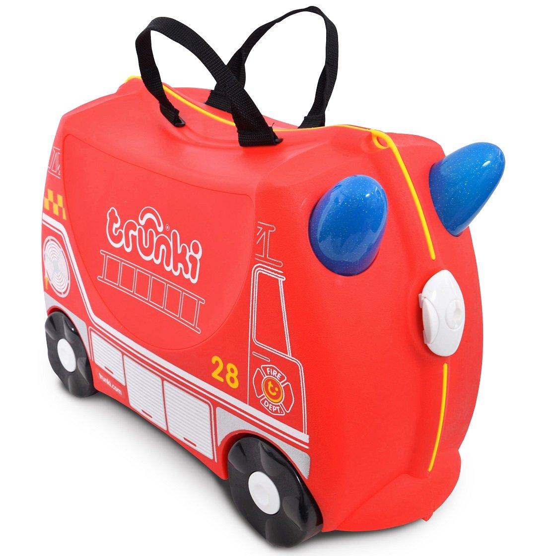 Valiza pentru copii Ride-On Masina de Pompieri Trunki, Rosu, 46 cm imagine