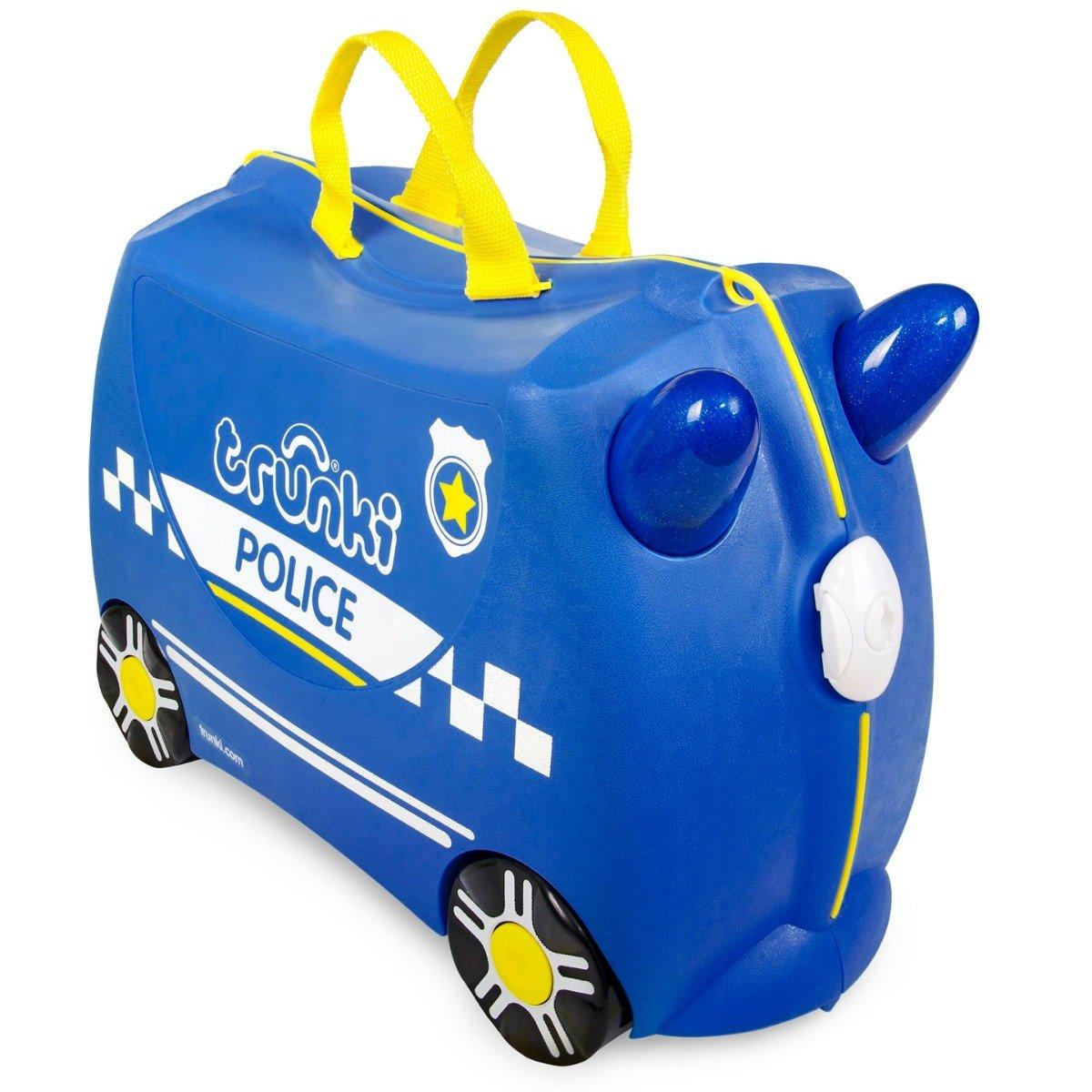 Valiza pentru copii Ride-On Masina de Politie Percy Trunki, Albastru, 46 cm imagine