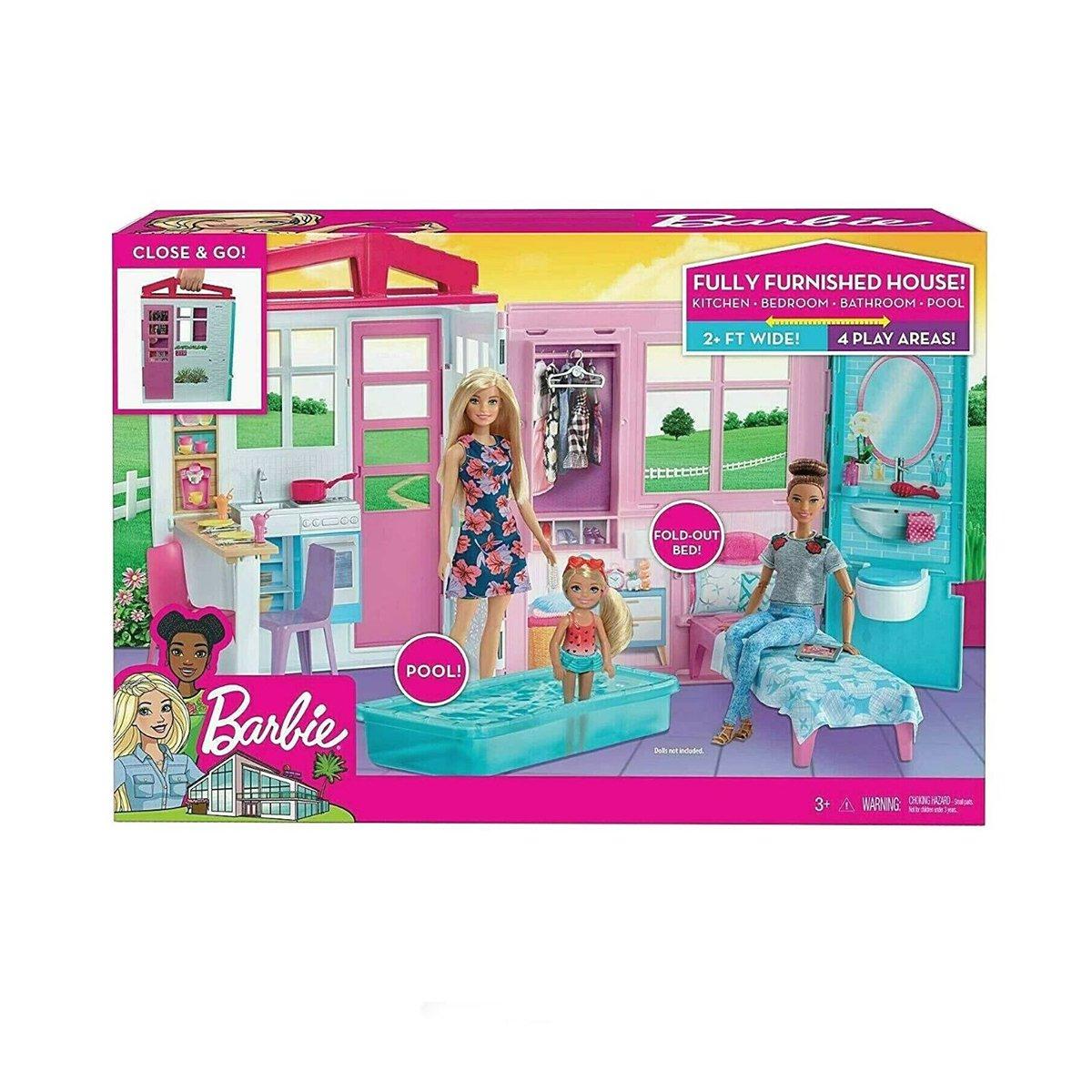 Set casuta de papusi, Barbie, cu piscina, 46 x 32 cm