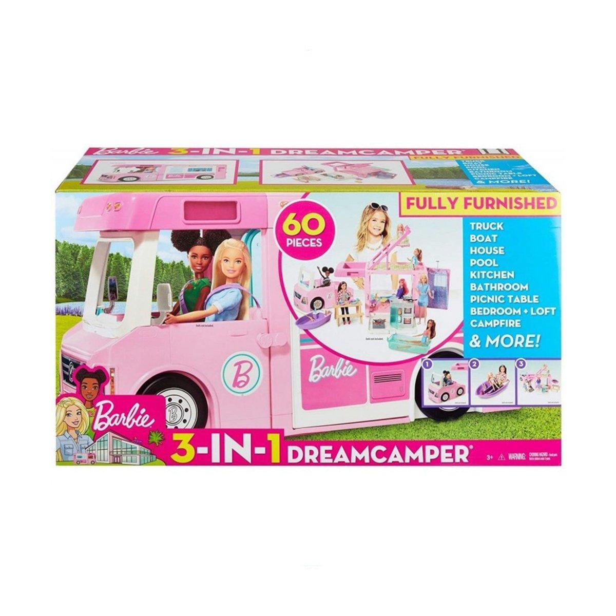 Masinuta Barbie, Rulota de vis 3 in 1, cu 60 accesorii