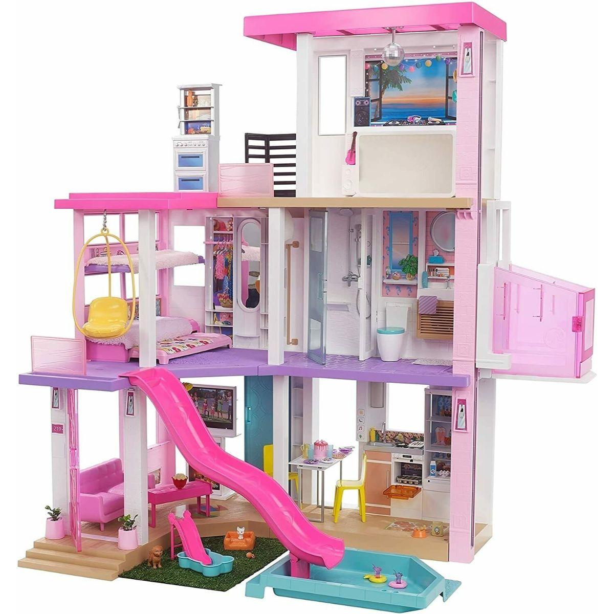 Set Casa de papusi Barbie Dreamhouse (114 cm) cu piscina, tobogan, lift, lumini si sunete