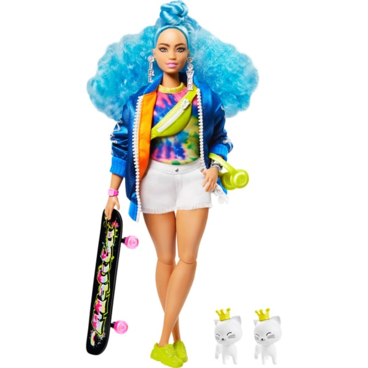 Papusa Barbie, Extra Style, Blue Curly Hair