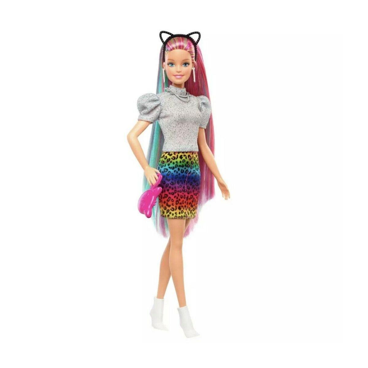 Papusa Barbie Leopard Rainbow Hair