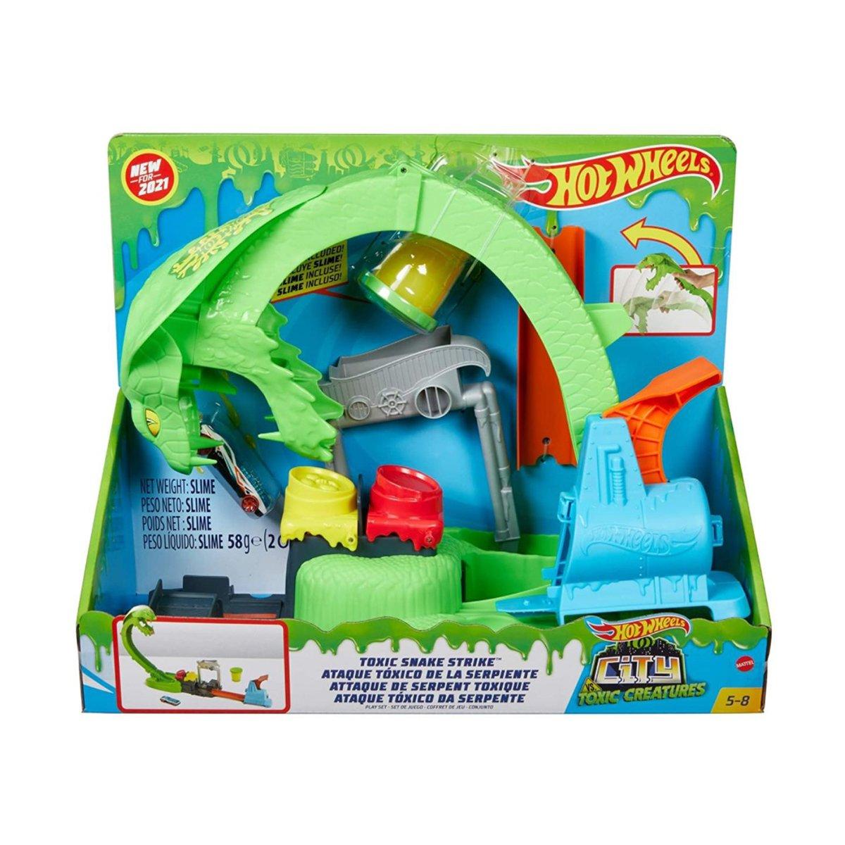 Set de joaca, Hot Wheels, Toxic Snake, cu slime