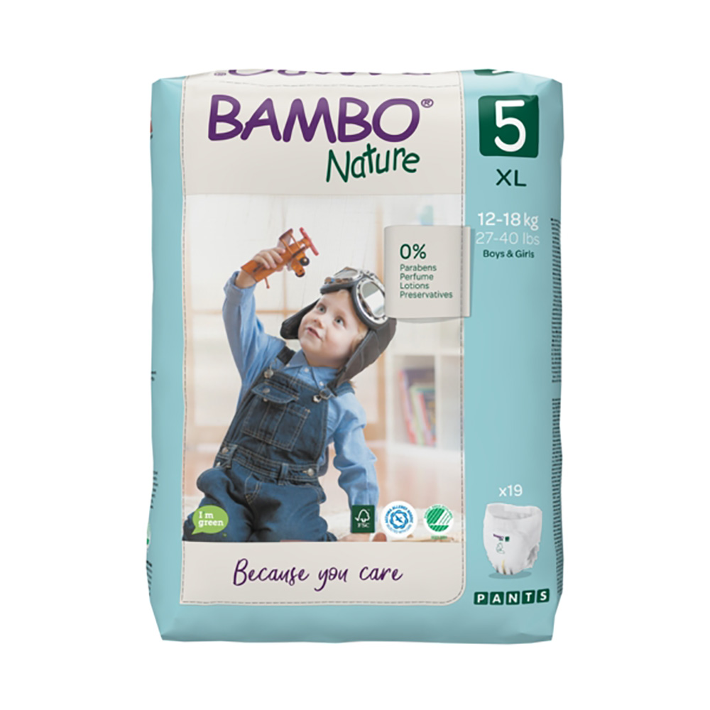 Scutece Bambo Nature Eco Friendly Pants, Nr 5, 12 - 18 Kg, 19 buc