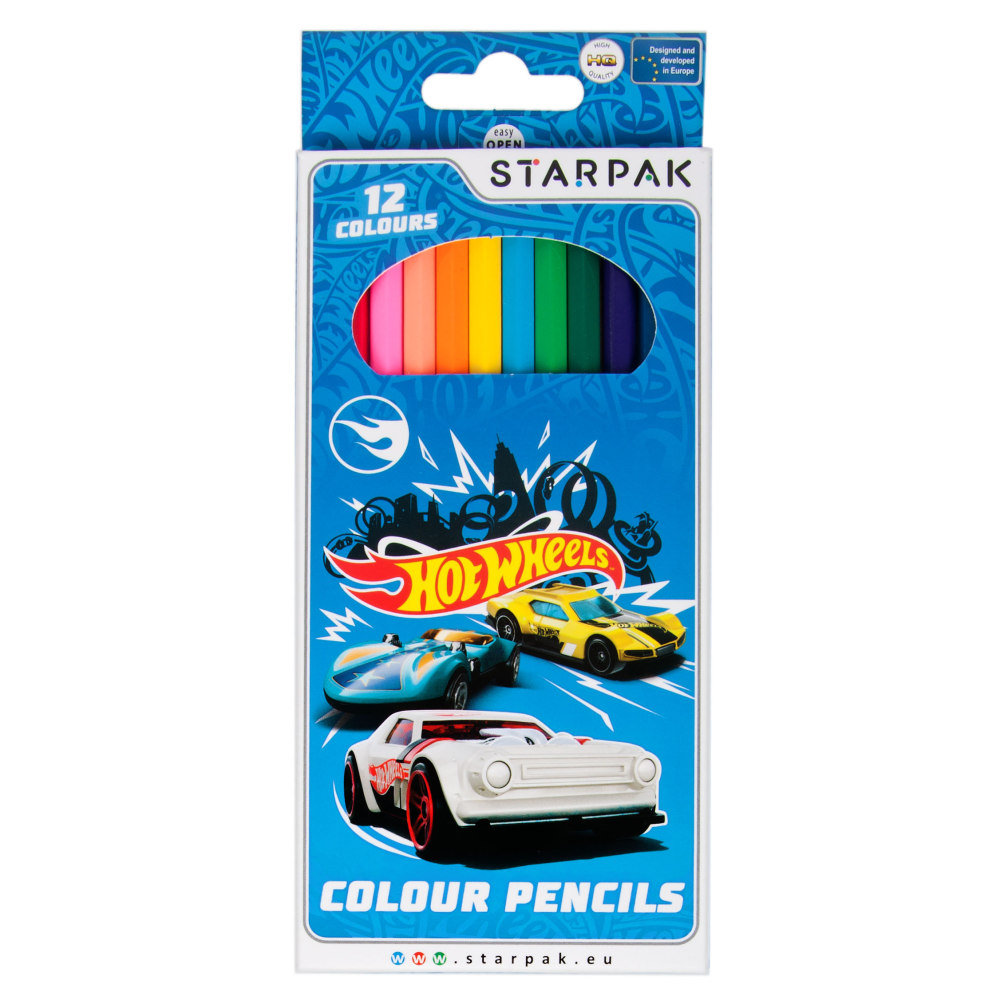 Set 12 creioane colorate Starpak, Hot Wheels