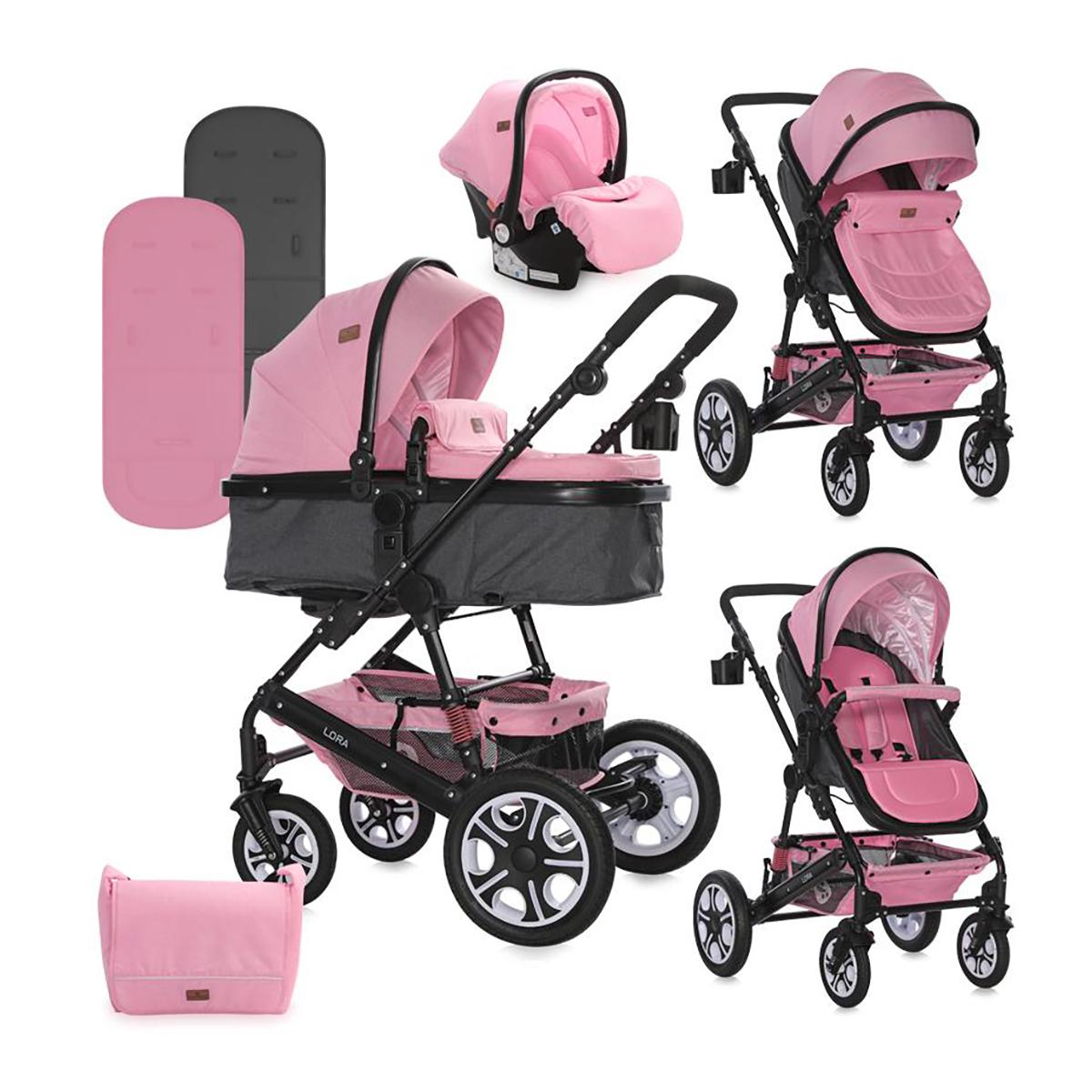 Set Carucior Lorelli Lora, cos auto inclus, Pink