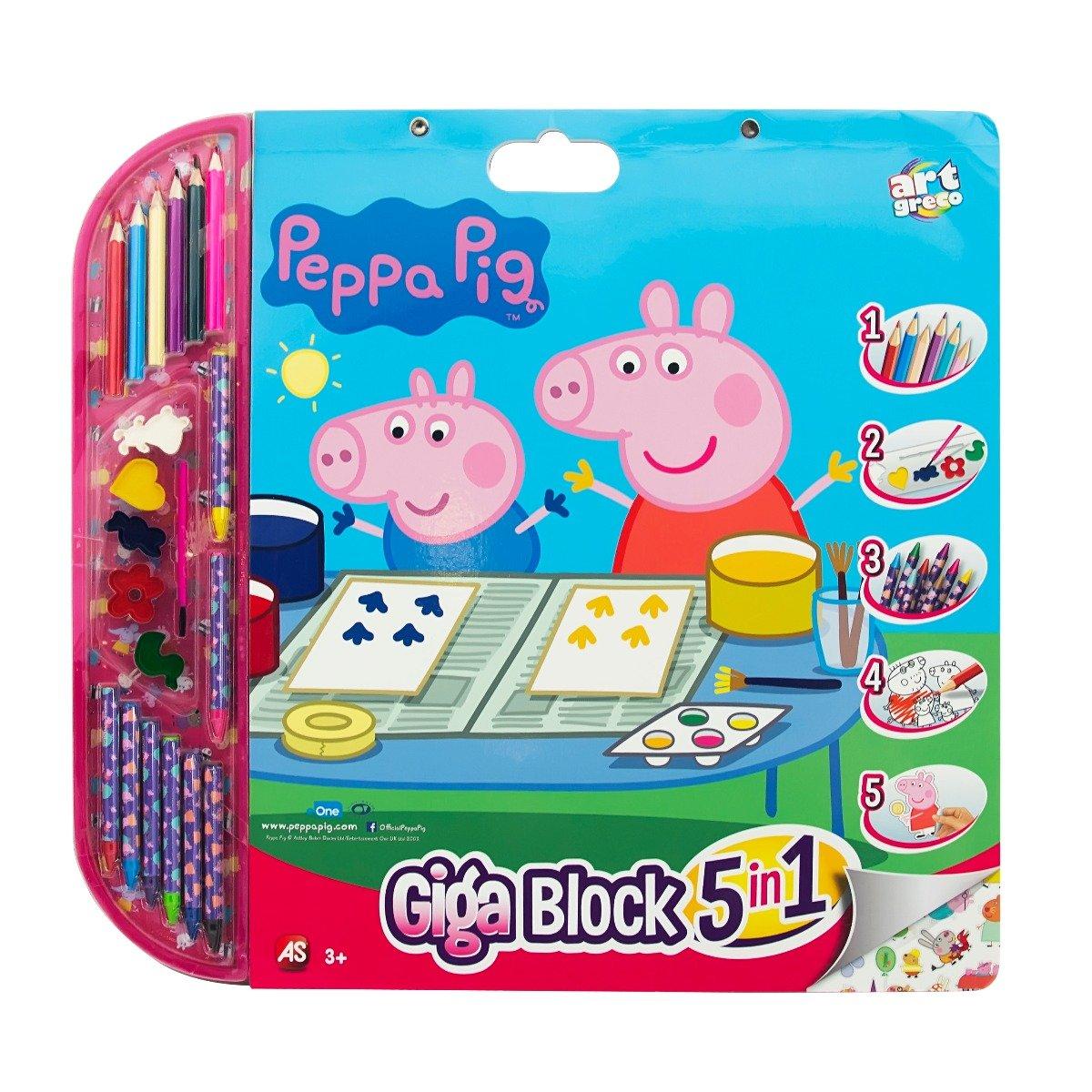 Bloc de desen 5 in 1 Giga Block, Peppa Pig