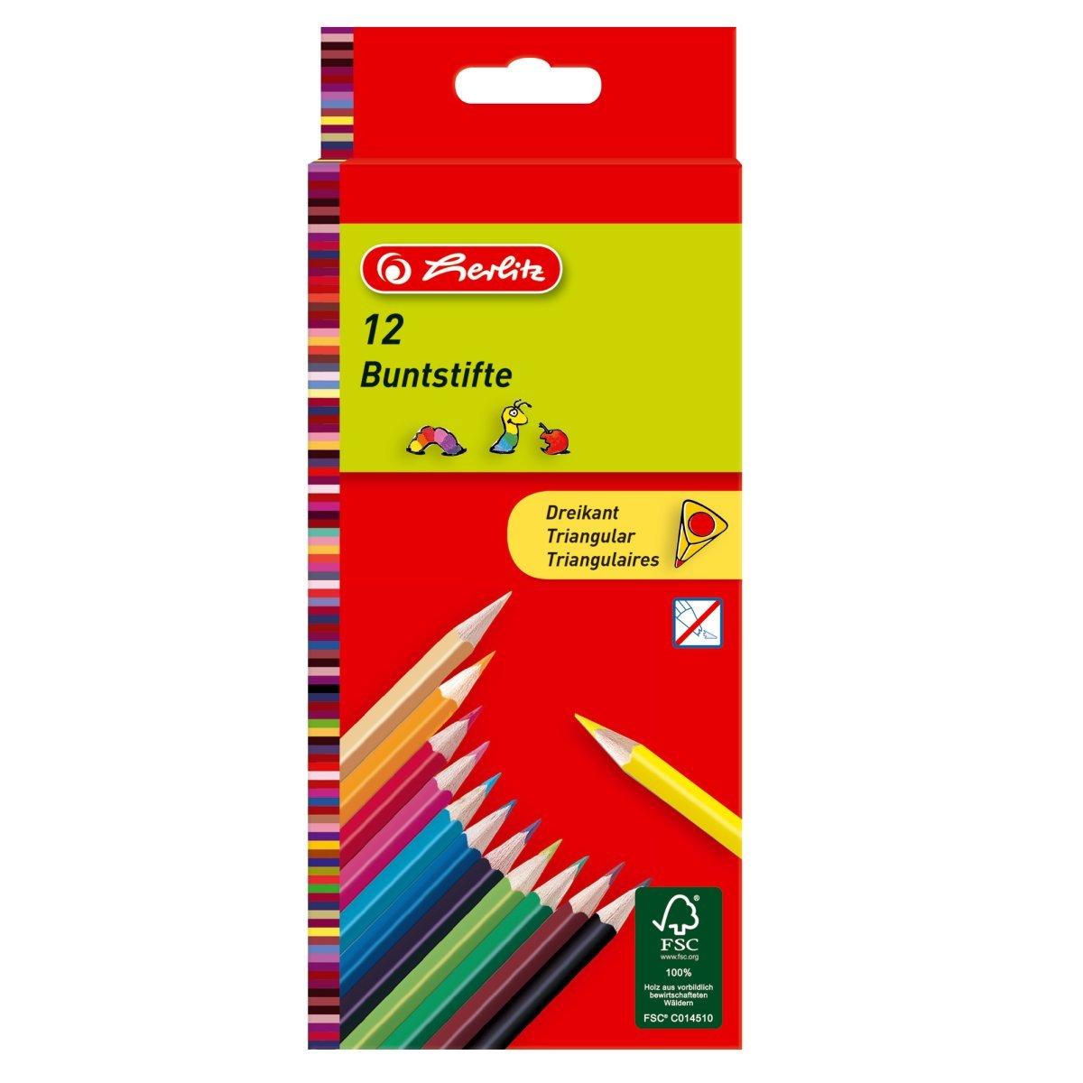 Set creioane color triunghiulare Herlitz, 12 buc imagine