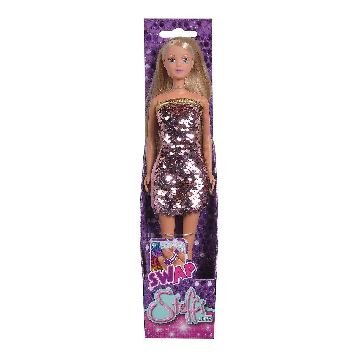 Papusa Steffi Love in rochie cu paiete, Roz pal