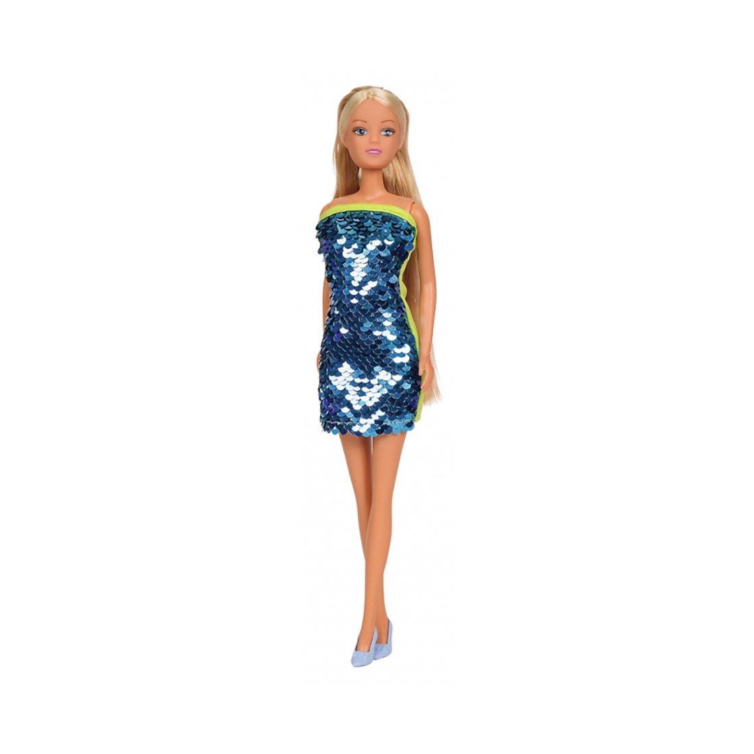 Papusa Steffi Love in rochie cu paiete, Albastru imagine