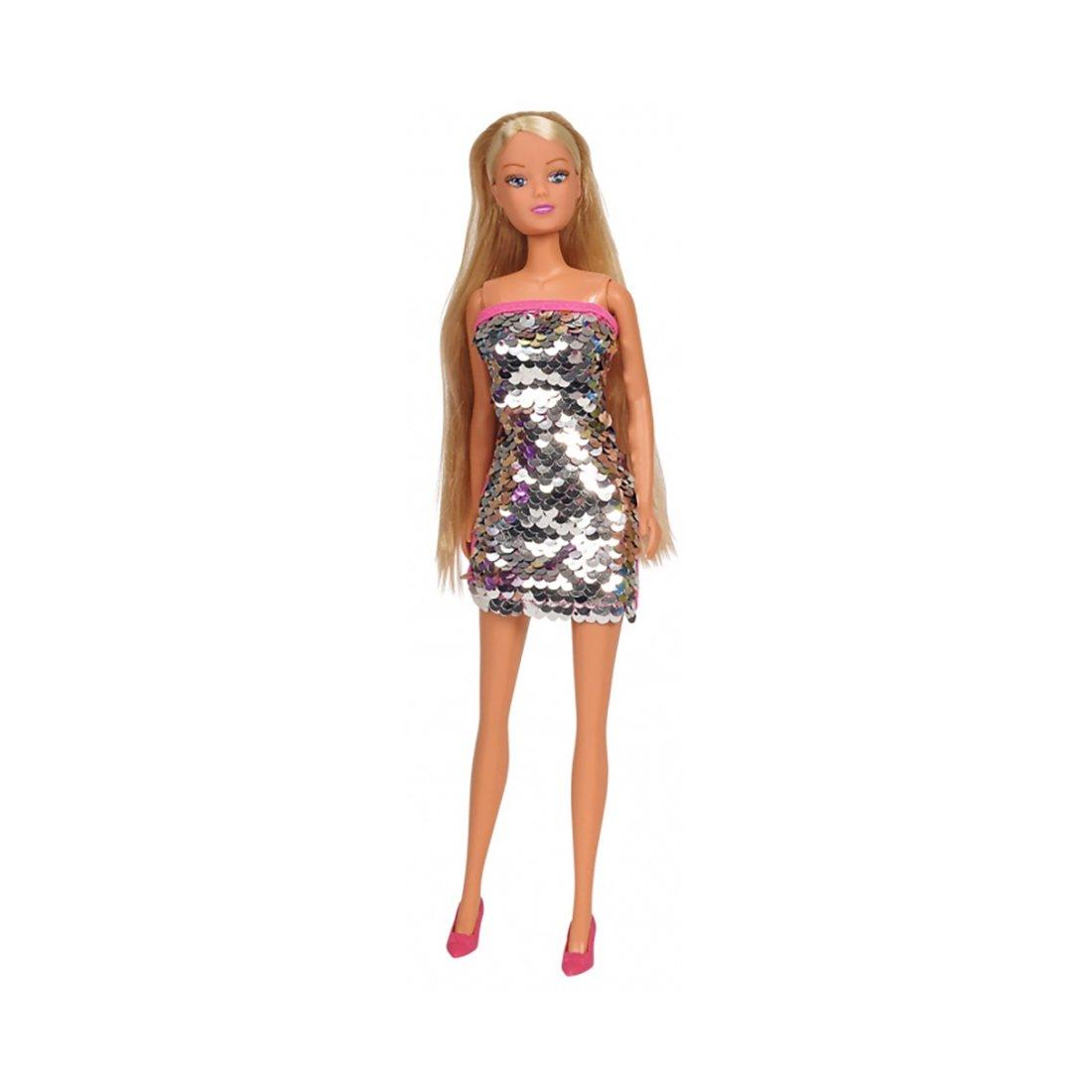 Papusa Steffi Love in rochie cu paiete, Gri