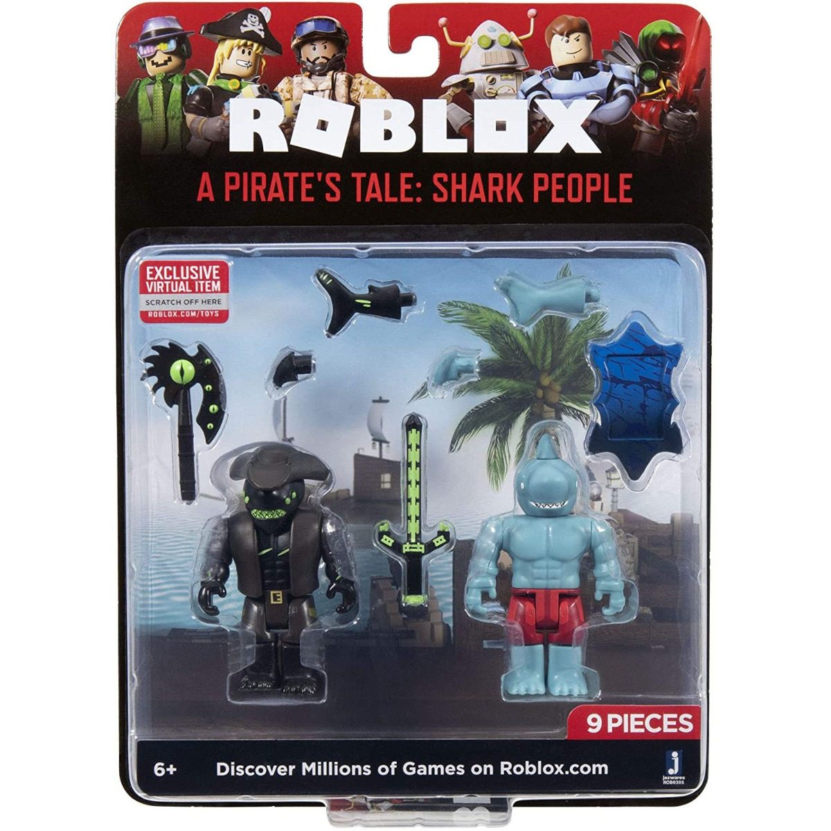 Set 2 figurine Roblox, A Pirate's Take, Shark People