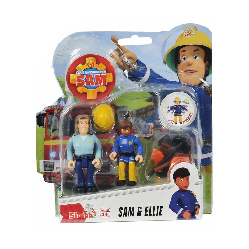 Set 2 figurine articulate Pompierul Sam, Ellie si Sam, 7.5 cm