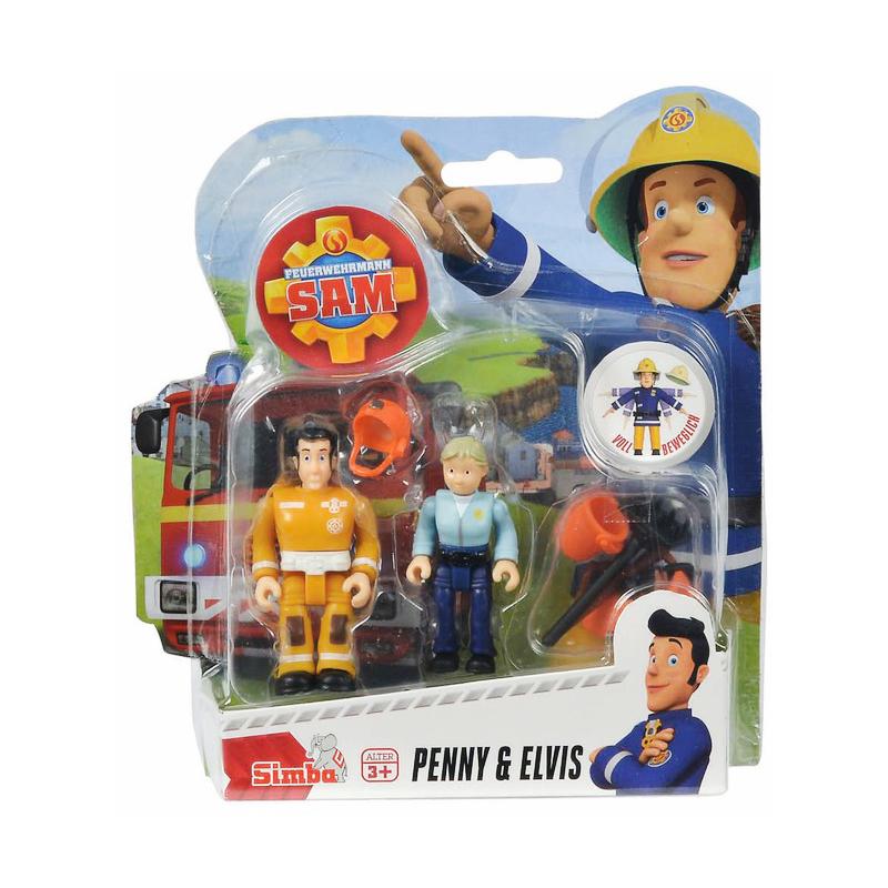 Set 2 figurine articulate Pompierul Sam, Ellie si Penny, 7.5 cm