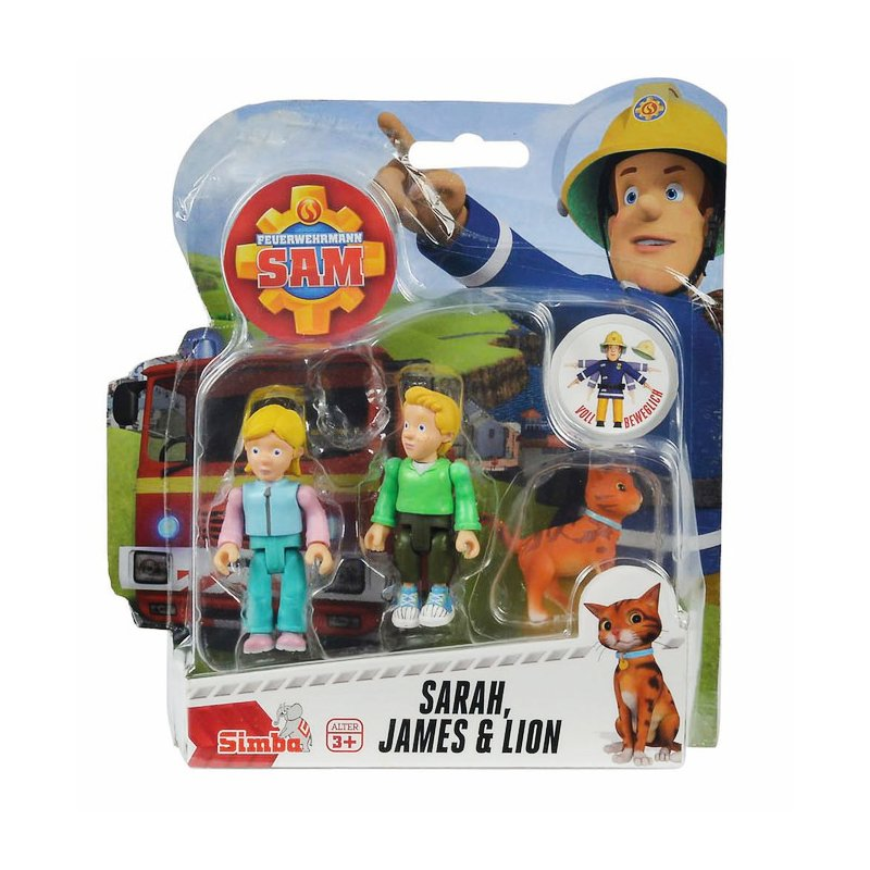 Set 3 figurine articulate Pompierul Sam, Sarah, James si Lion, 7.5 cm