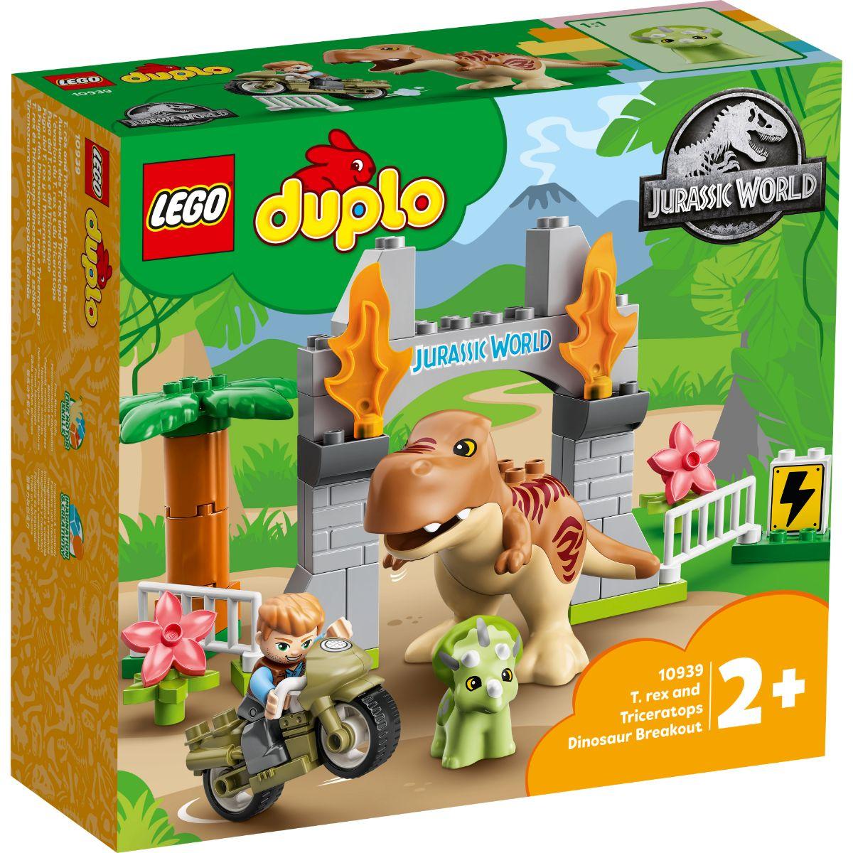 LEGO® Duplo - Evadarea dinozaurilor T. Rex si Tricerato (10939)
