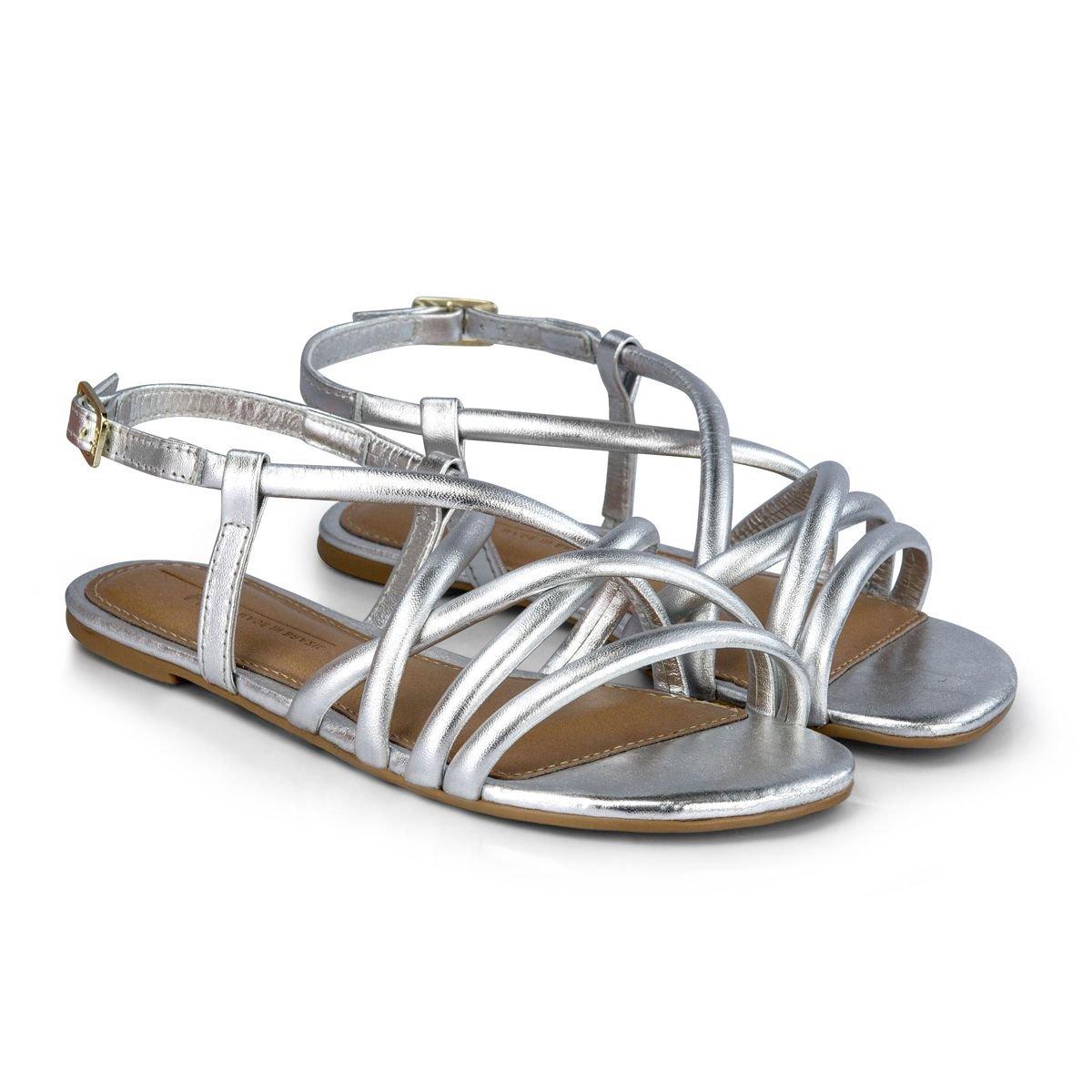 Sandale din piele Bibi Shoes Little Me, Argintiu
