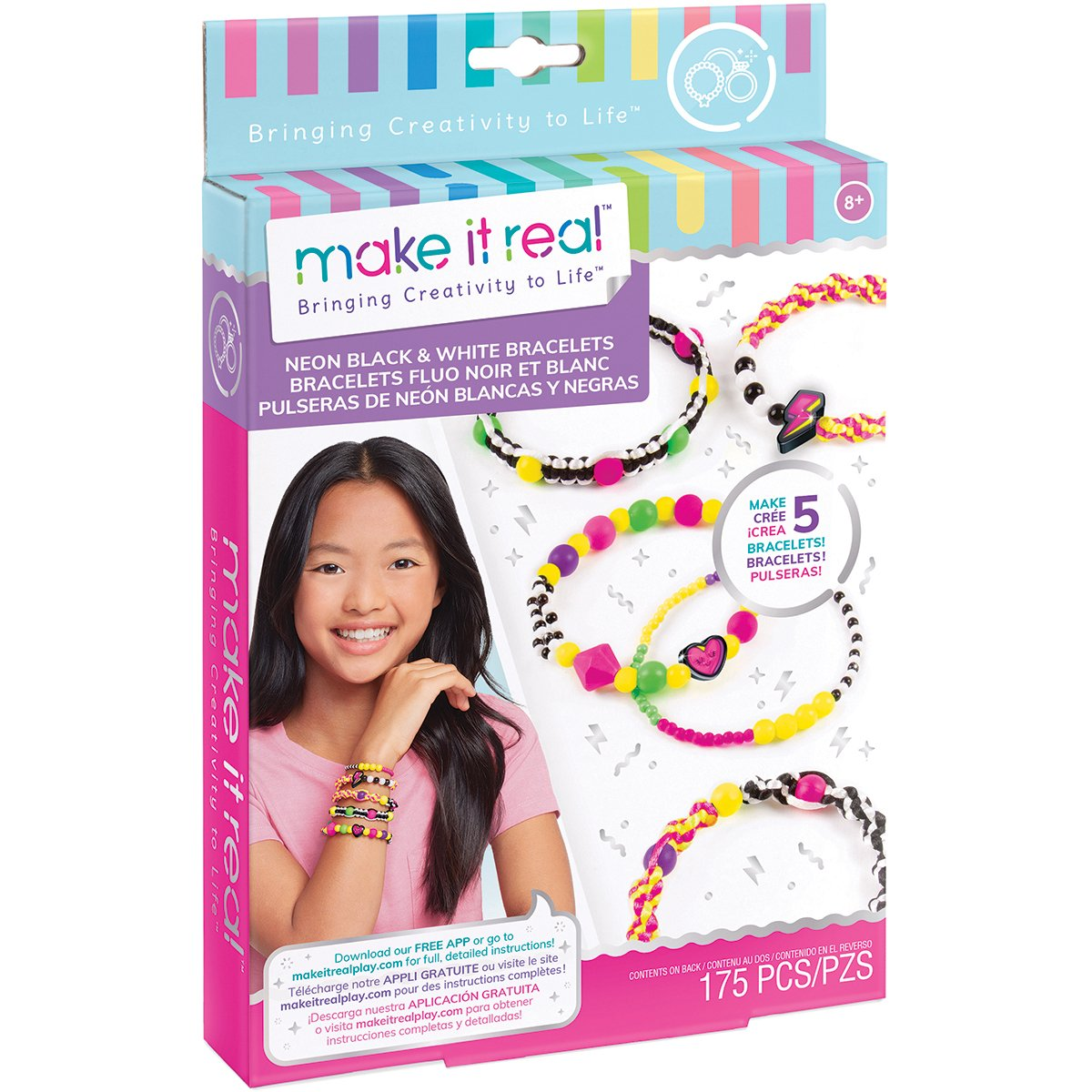 Set Make It Real, Bratari colorate din margele cu talisman, 175 piese