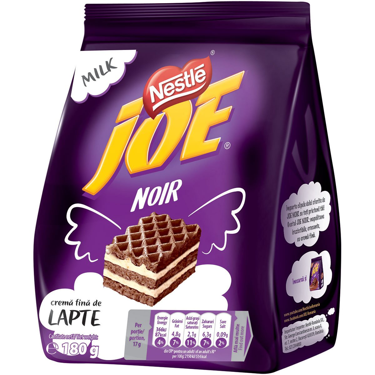 Napolitane cu crema fina de lapte Joe Noir, 180 g imagine