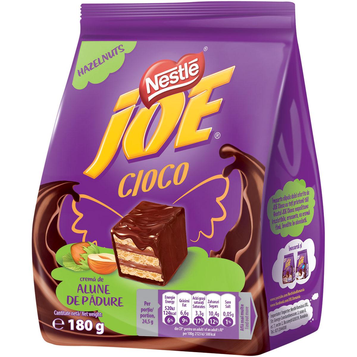 Napolitane glazurate in ciocolata cu crema de alune Joe, 180 g imagine
