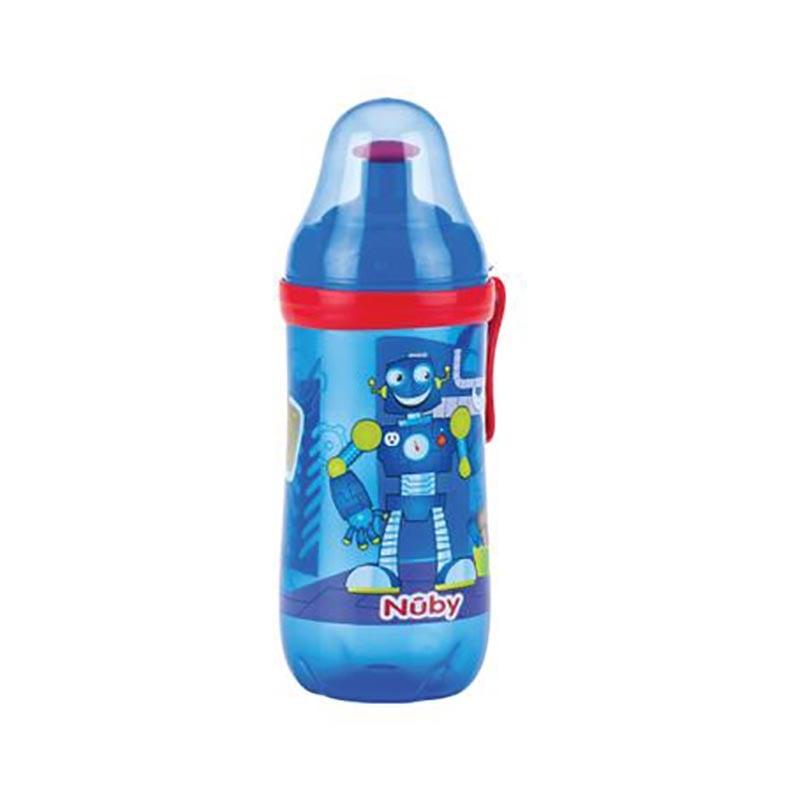 Pahar pop-up cu clama Nuby, 360 ml, Albastru imagine