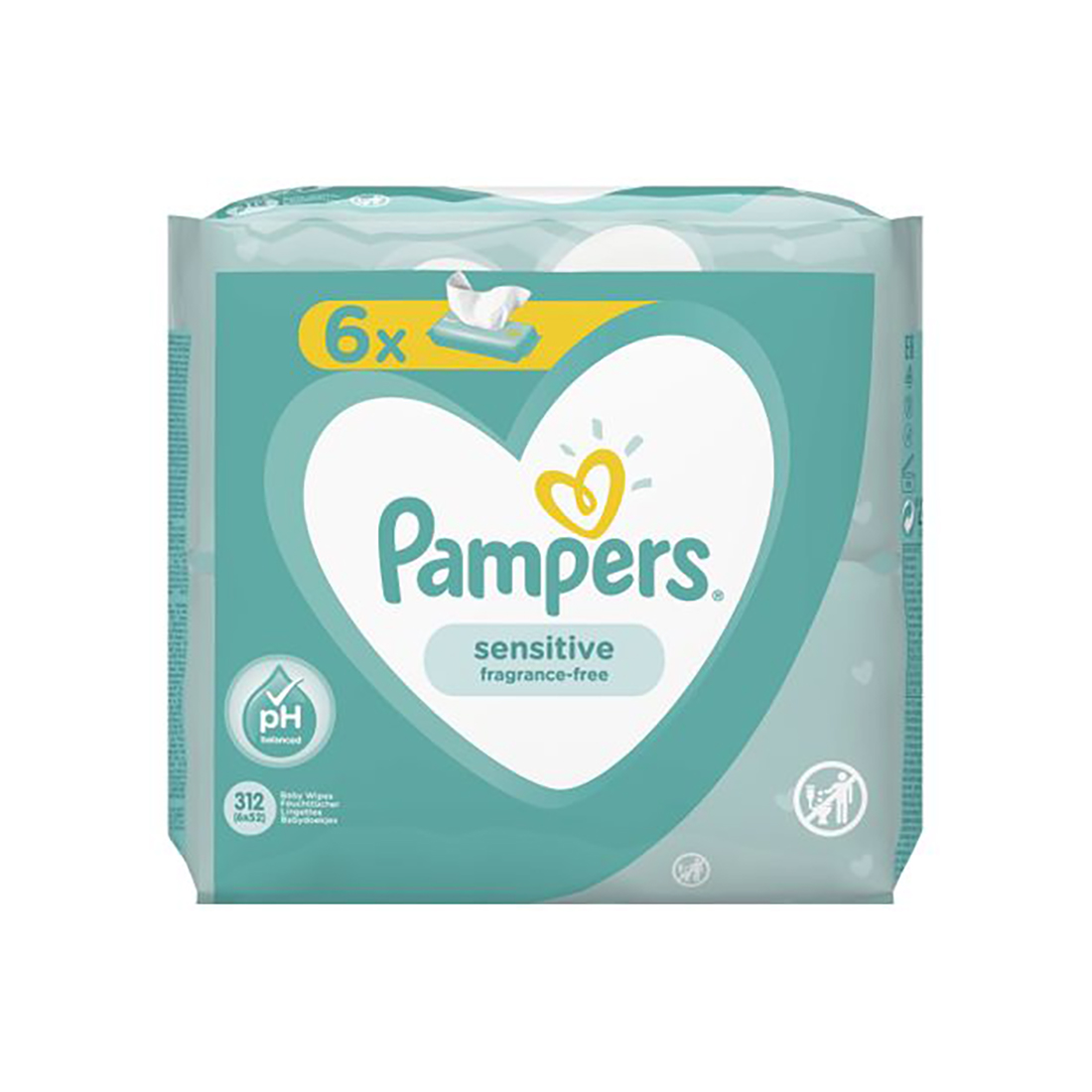 Servetele umede Pampers Sensitive, 6 Pachete x 52 buc.