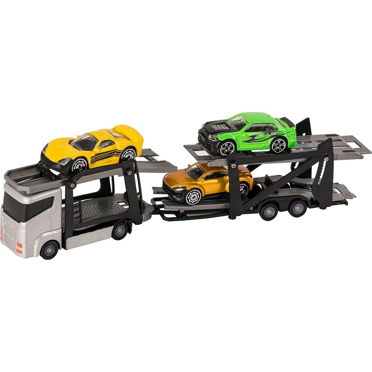 Set Camion transportator cu masinute Teamsterz, Gri