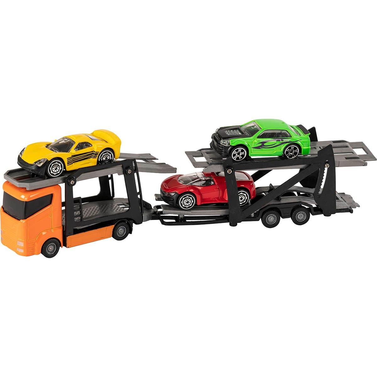 Set Camion transportator cu masinute Teamsterz, Portocaliu