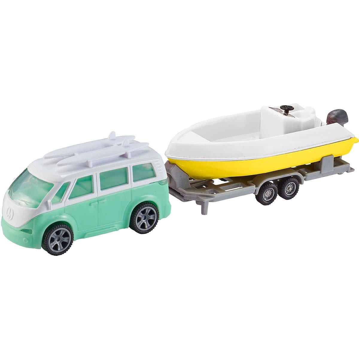 Set masinuta cu remorca si barca Teamsterz, Verde