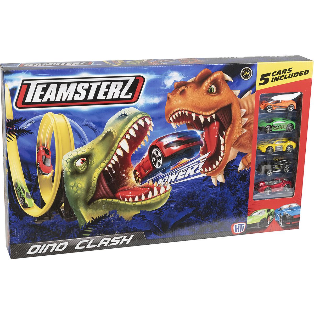 Set lansator de masinute Teamsterz, Dino Clash