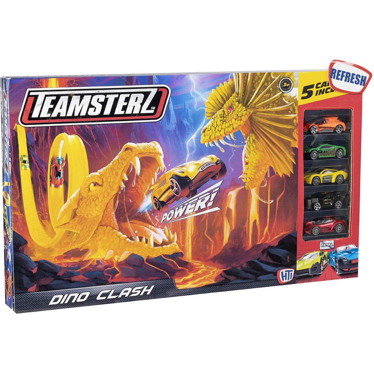 Set lansator de masinute Teamsterz, Dino Clash V20