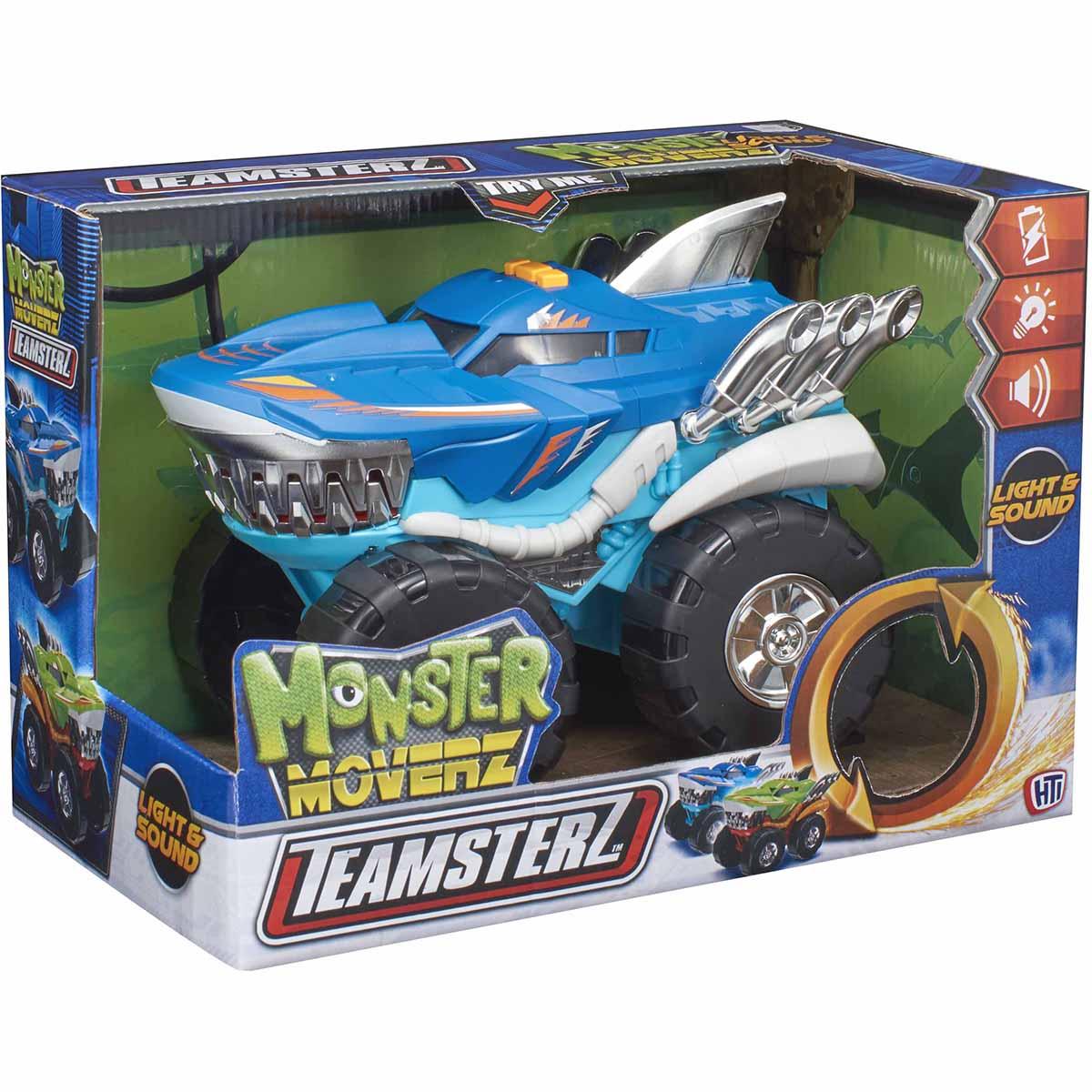 Masinuta cu lumini si sunete Teamsterz, Monster Moverz Robo Shark, Albastru
