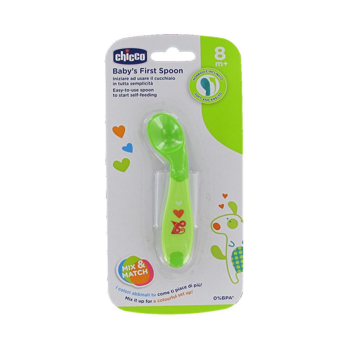 Lingurita pentru hranire Chicco, 8 luni +, Verde imagine