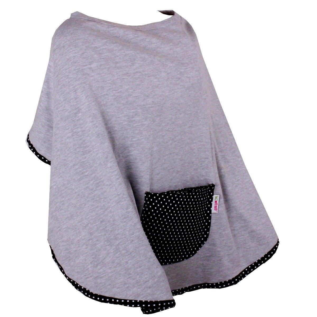 Poncho jerseu pentru alaptare cu buline Minene, Gri imagine