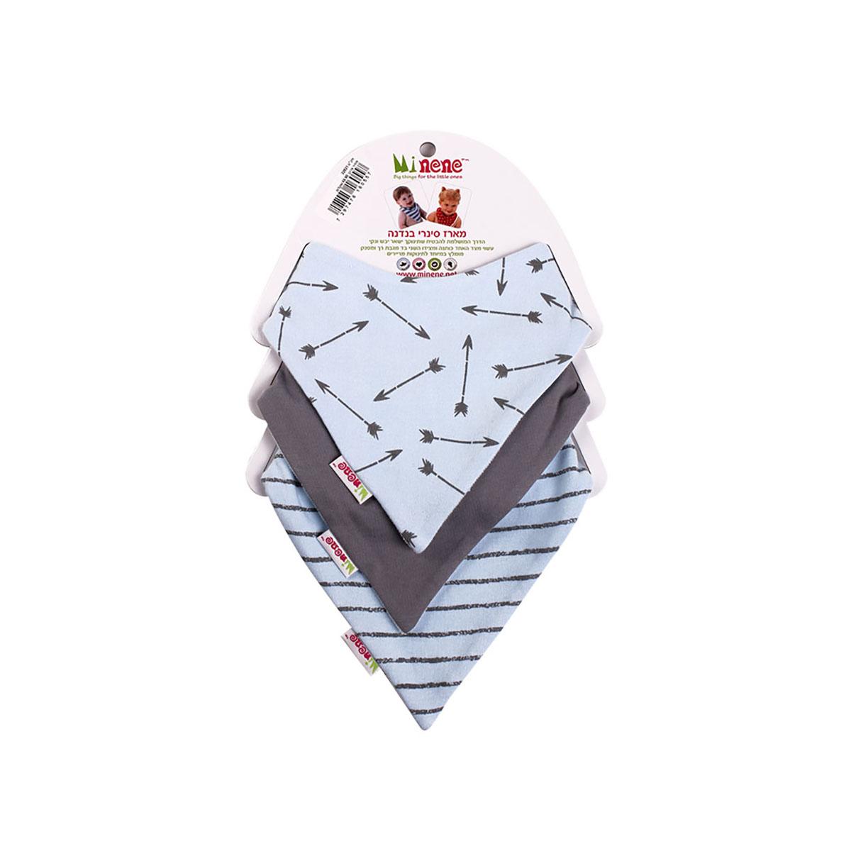Set 3 bavetele triunghiulare pentru bebelusi Minene, Albastru/Gri imagine