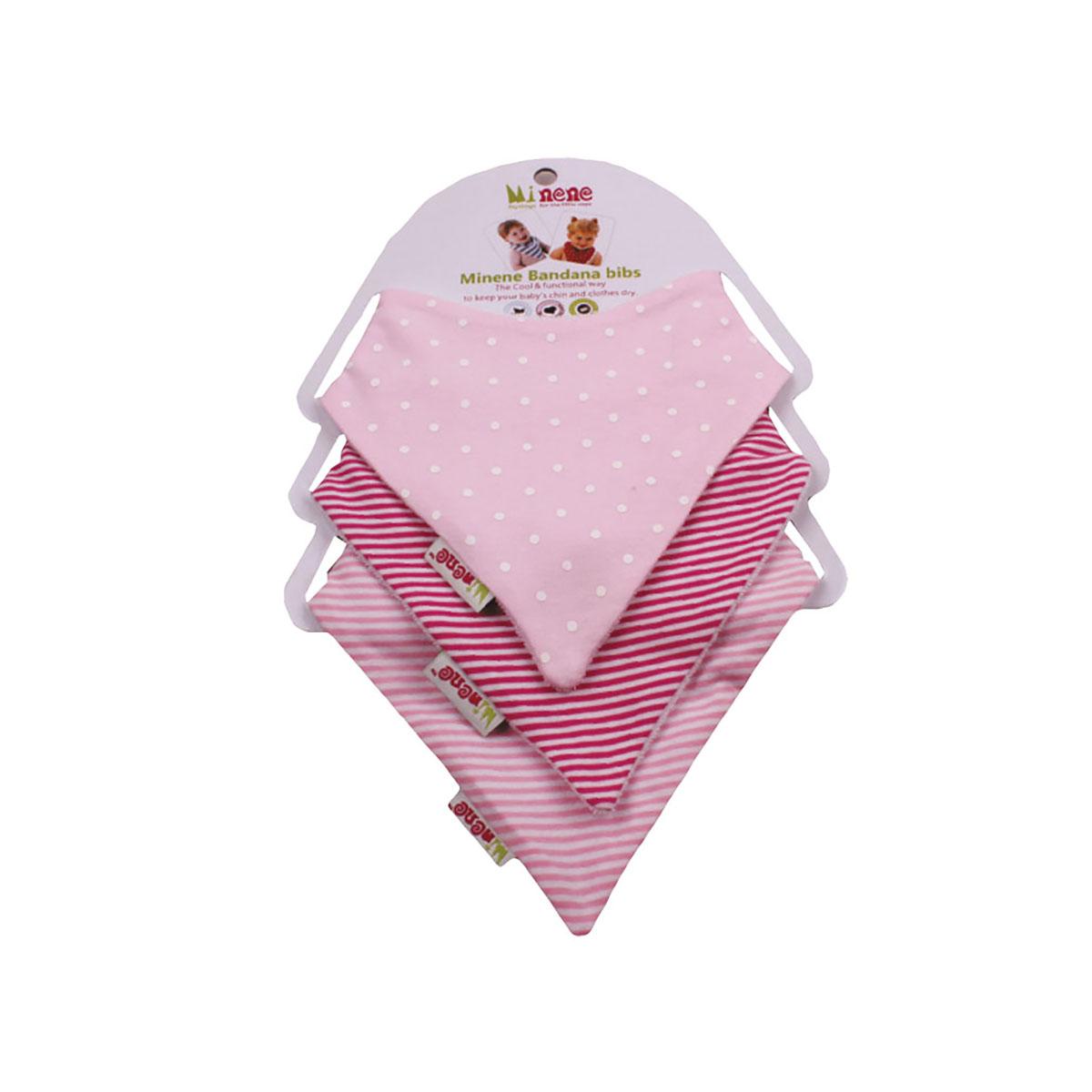 Set 3 bavetele triunghiulare pentru bebelusi Minene, Roz imagine