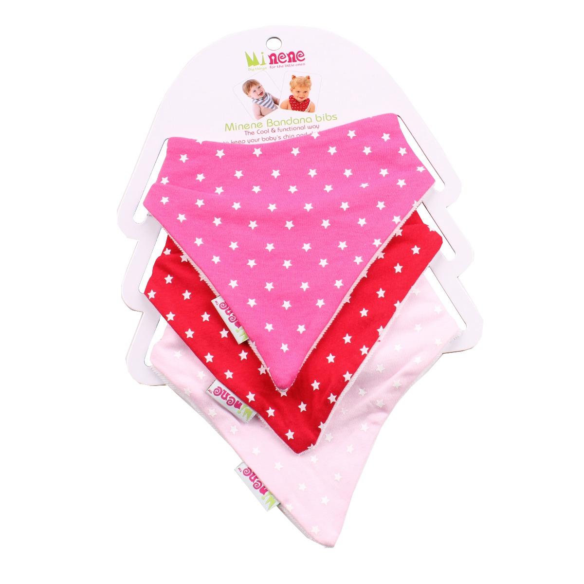 Set 3 bavetele triunghiulare cu stelute pentru bebelusi Minene, Roz imagine