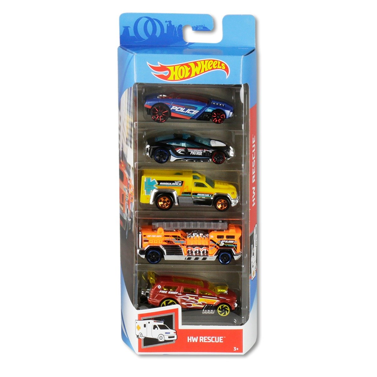 Set masinute Hot Wheels, Hw Rescue GHP61 (5 modele) imagine