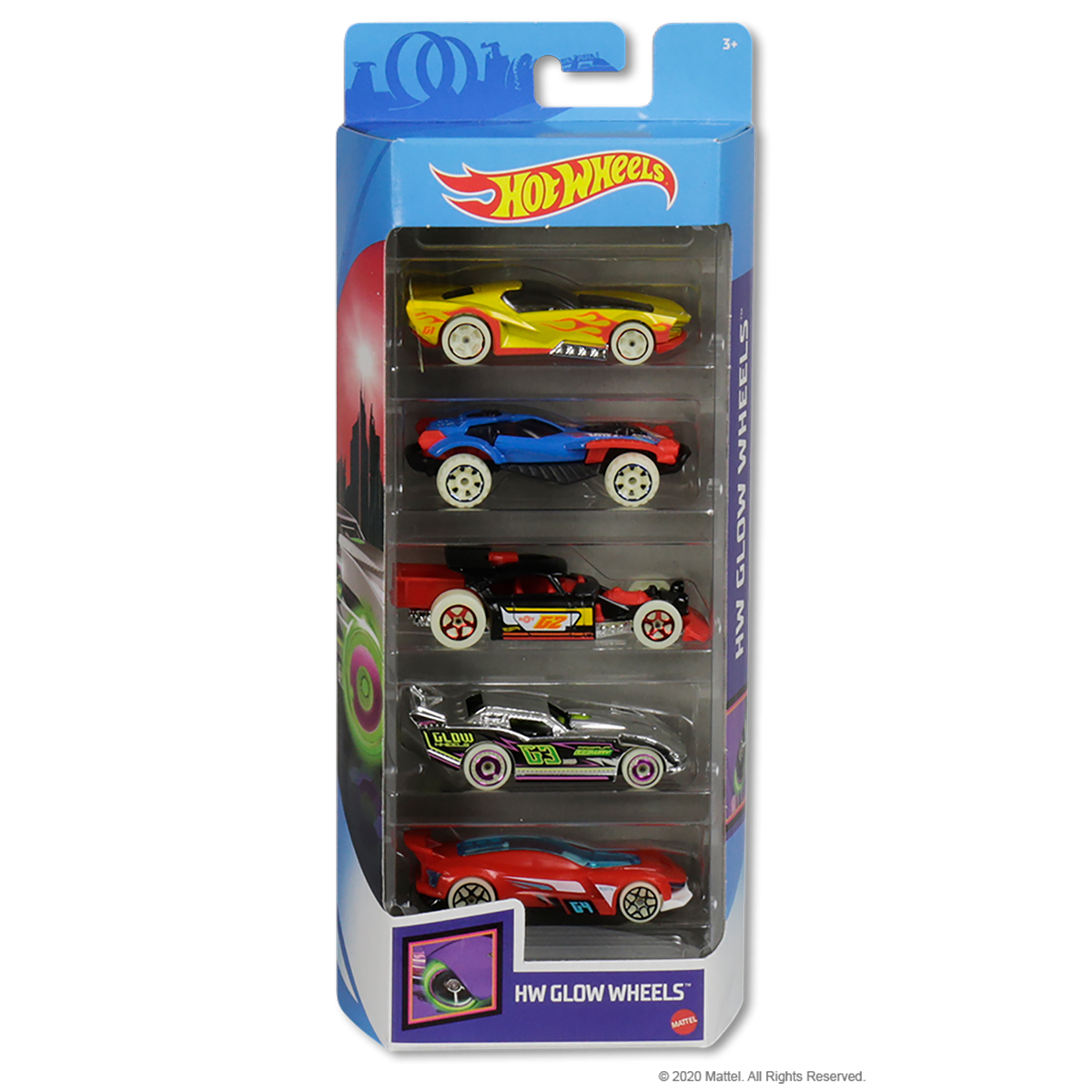 Set masinute Hot Wheels, HW Glow Wheels, GHP65, 1:64 (5 modele)