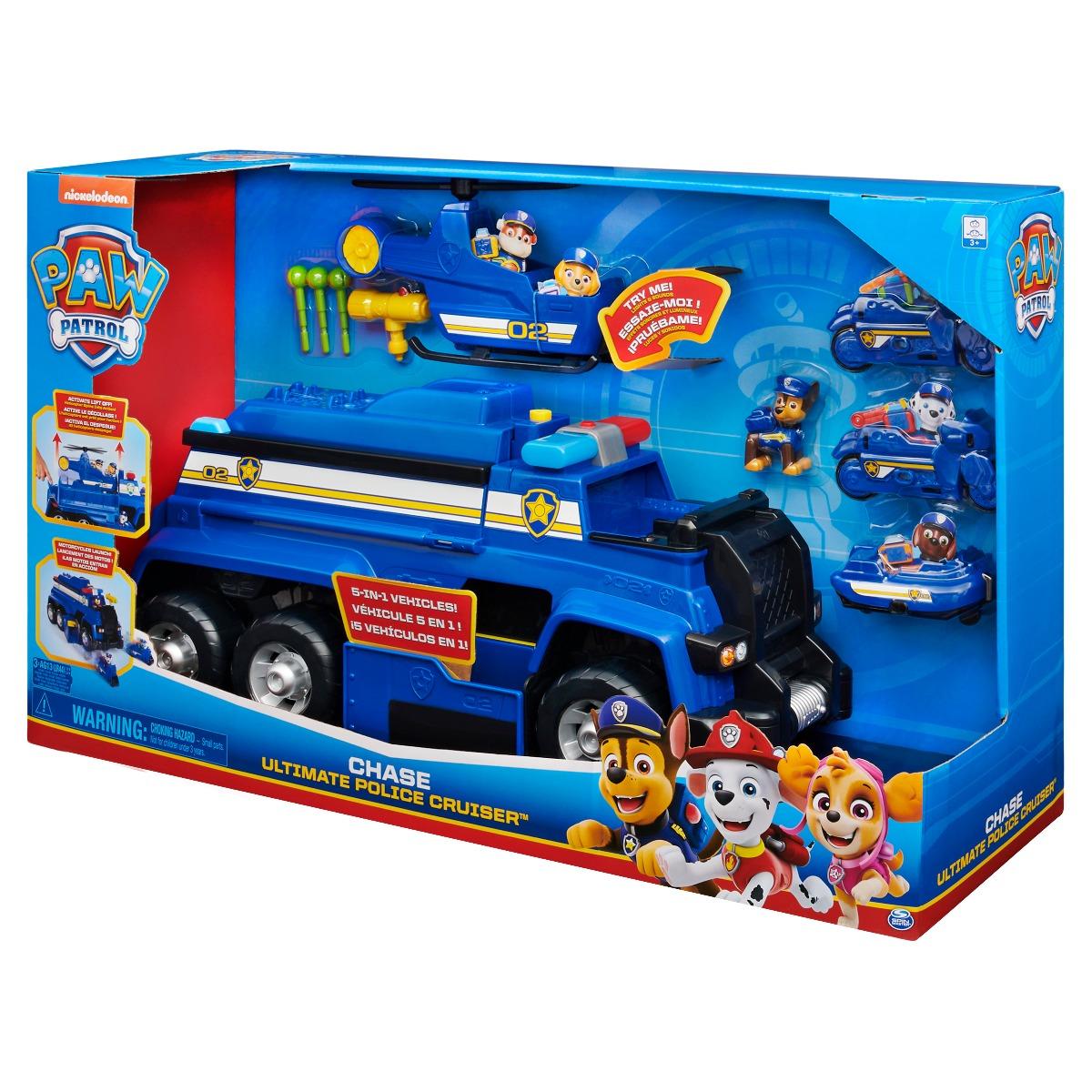 Set de joaca cu figurina si vehicule Paw Patrol Chase Ultimate Police Cruiser