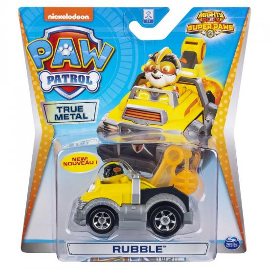 Masinuta cu figurina Paw Patrol True Metal, Rubble 20127215