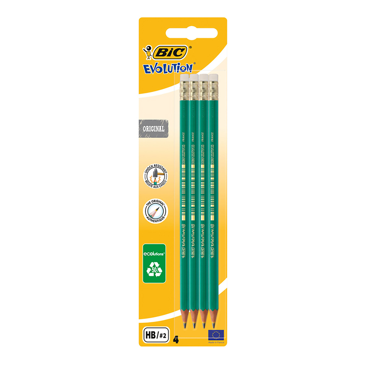 Set 4 creioane cu radiera Grafit Eco Evolution Bic, HB 2 imagine