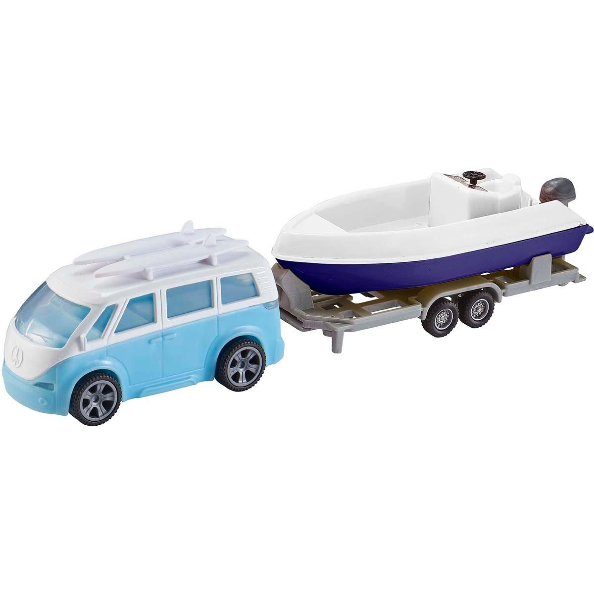 Set masinuta cu remorca si barca Teamsterz, Albastru