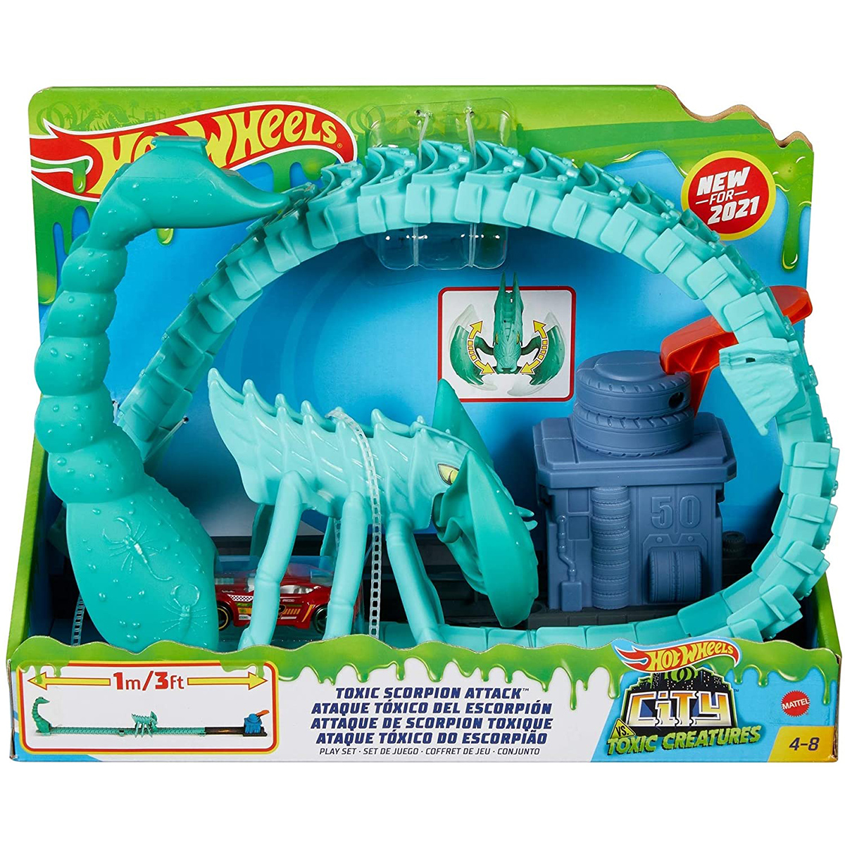 Set de joaca Circuit cu obstacole Hot Wheels City, Toxic Scorpion Attack (GTT67)