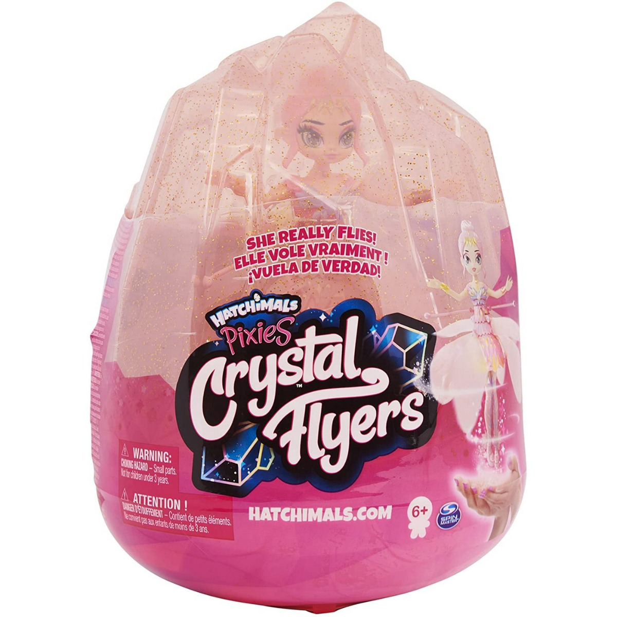 Figurina Hatchimals Pixies Crystal Flyers, Zana zburatoare, Roz