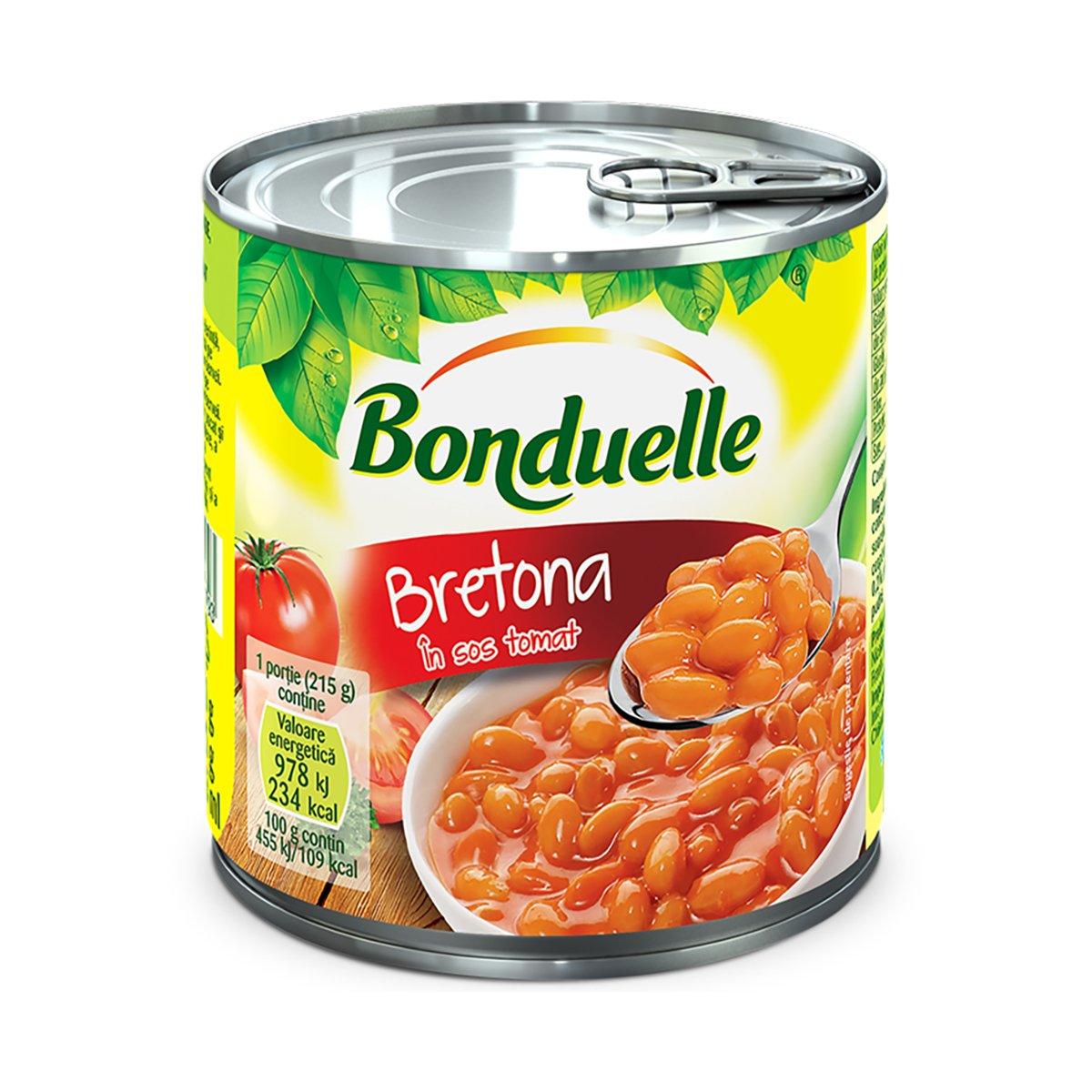 Fasole alba boabe in sos tomat, Bonduelle Bretona, cutie, 425 ml imagine